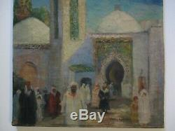 Mary Wicker Painting Antique Orientalism Church Icon Street Scene Landscape Old