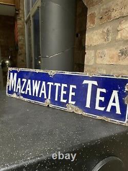 Mazawattee Tea Enamel Sign Original Old Rare Advertising Antique Vintage Kitchen