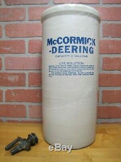 McCORMICK DEERING Old Stoneware LYE 2 Gal Crock Farm Feed Seed Tractor Sign Ad