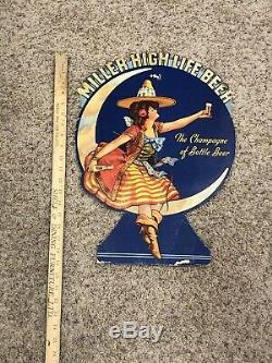 Miller Beer Sign 1920s 1930s Rare Old Sign Vintage Antique Cardboard Adve