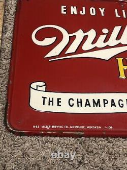Miller Beer Sign 1950s Metal Sign Advertising Old Antique Beer High Life