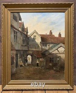 Monogram Mystery Original 19th Century Victorian Old Signed Antique Oil Painting