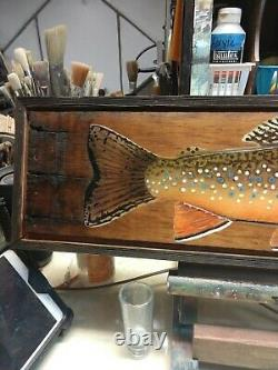 Native trout fish art / old wood /signed by artist Bryce Lund art / wild trout