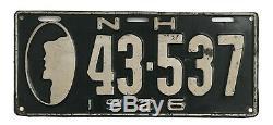 New Hampshire 1926 Old Man License Plate, Nice Original, Antique, Garage Sign