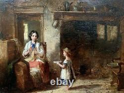 OLD 19th CENTURY FRENCH ANTIQUE SIGNED OIL PAINTING FIGURES IN A BRETON COTTAGE