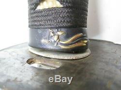OLD BLADE JAPANESE SAMURAI KATANA SWORD SIGNED ACTIVE TEMPER LINE WIT old mounts