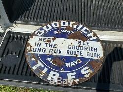 ORIGINAL Goodrich Tires Porcelain Auto Sign 26 Antique Old