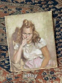 ORIGINAL VINTAGE PORTRAIT OIL PAINTING OF WOMAN MID-CENTURY OLD ANTIQUE 1940s NR