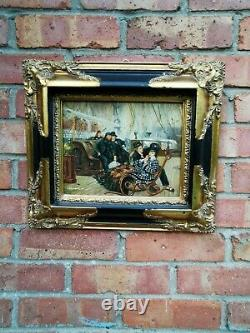 Oil Painting of People on Deck of Ship Old Masters Style. Ornately Framed Signed