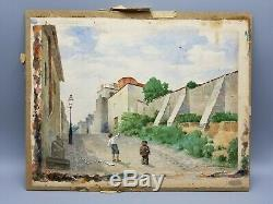 Old 1880 Montmartre Paris Watercolor Children Kites Signed Nelson Bickford Nr