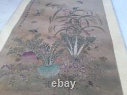 Old Antique Chinese Scroll Painting Yum Shouping Nathan Garden Insects Qing