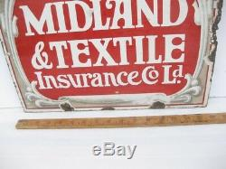 Old Antique Enamel Sign Insurance Plate Sign Plaque Advert Midland Textile