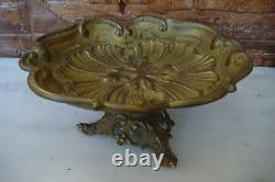 Old Antique German Art Nouveau bronze fruit bowl sign by Ges Gesch