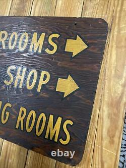 Old Antique Hotel Lobby Painted Wooden Sign Barber Shop Restrooms Meeting 21