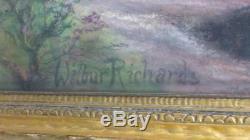 Old Antique Impressionist Pastel Drawing Painting Wilbur Richards Landscape Home