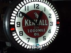 Old Antique Kendall Gas Oil Neon Swihart Clock Sign Advertising Service Station