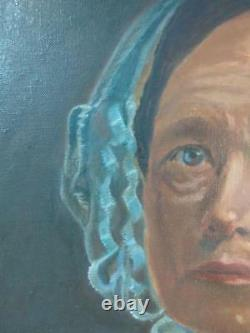 Old Antique Oil American Painting Portrait Old Woman Americana Art Lady Female