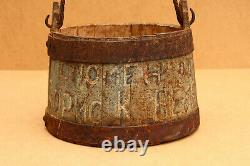 Old Antique Primitive Wooden Wood Bucket Barrel Keg Vessel Kettle Signed 19th