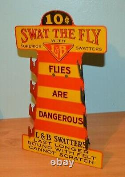 Old Antique Swat The Fly L&B Swatter Advertising Store Display Holder Sign Rare