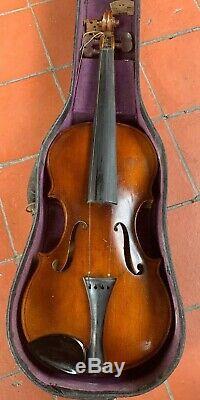 Old Antique Vintage 1852 4/4 German Violin Need Restoration Signed
