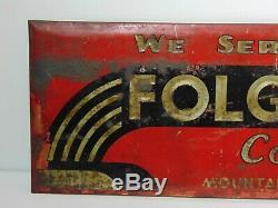 Old Antique Vintage 1930s FOLGER'S COFFEE ART DECO TIN METAL ADVERTISING SIGN