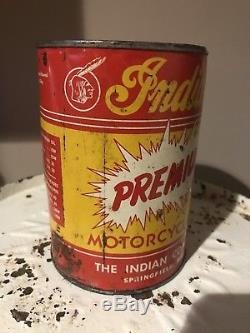 Old Antique Vintage INDIAN Motorcycle One Full Quart 1930 1940s Oil Can Rare