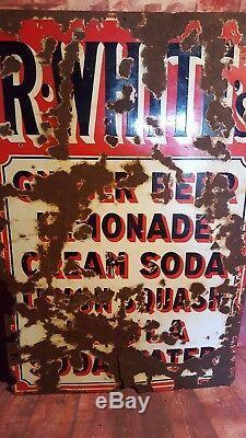 Old Antique Vintage R Whites Metal Enamel Shop Display Advertising Sign Man Cave