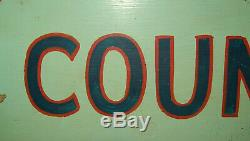 Old Antique Vtg Ca 1930s Hand Painted Folk Art Sign County Recorder Sheet Iron