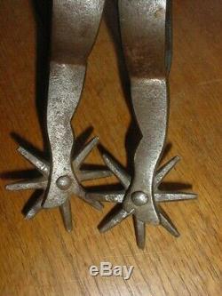 Old Antique Western Cowboy Gal Leg Spurs Silver Boots Copper Pants Signed