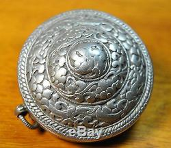 Old Bhutanese Timmi Silver box/Antique Collectibles/unique signs