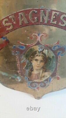 Old Bronze Religious Hand Painted Flag Pole Sign of'St Agnes