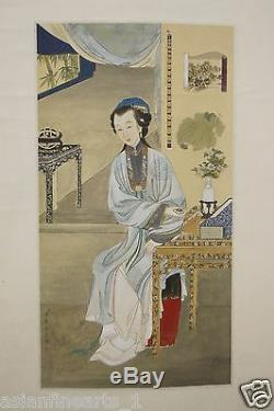 Old Chinese Antique Paper Scroll Painting Calligraphy Art Signed Drawing