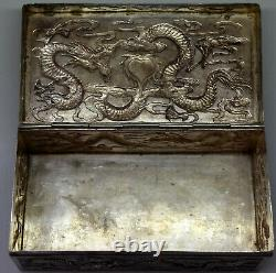 Old Chinese Sterling Silver Embossed Dragon Jewelry Box Signed
