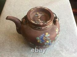 Old Chinese Yixing Painted Teapot Signed Calligraphy