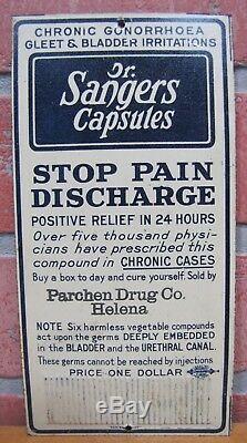 Old DR SANGERS Capsules GONORRHOEA GLEET STD Sign Quack Medicine Parchen Helena
