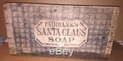 Old Fairbanks Santa Claus Soap Crate Wood Wooden Box Advertising Sign Illinois