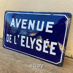 Old French Street Enameled Sign Plaque bombed arched AVENUE DE L ELYSEE 1705204