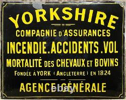 Old French enamel building sign plaque notice Yorkshire Insurance Company
