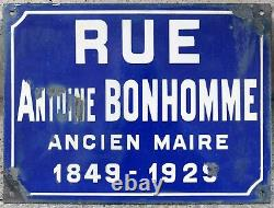 Old French street road sign plaque plate enamel rue Antoine Bonhomme Loire 1930