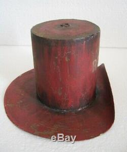 Old Iron Hat Trade Sign / Store Display Sign Advertisement, Hat Repairs