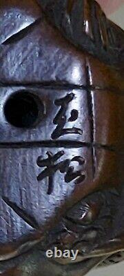 Old Japanese Boxwood Netsuke Octopus & Turtle Signed