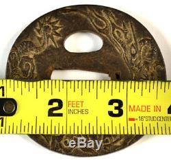 Old Japanese Wakizashi Sword Tsuba Dragon Gold Signed Forged Iron