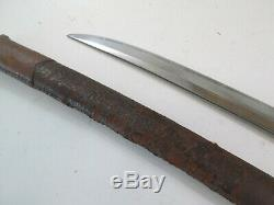 Old Japanese Wwii Samurai Sword W Scabbard Old Blade Cut Down Signed Naga #7/27