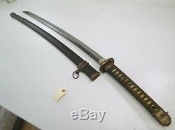 Old Koto Japanese Officers Sword With Scabbard Big Tip Signed Kanetsugu #l42