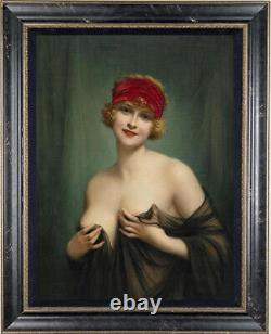 Old Master-Art Antique Oil Painting Noblewoman nude girl on canvas 24x36