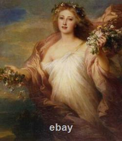 Old Master-Art Antique Oil Painting Portrait Fairy girl on canvas 30x40