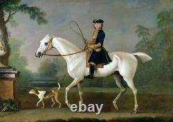 Old Master-Art Antique Oil Painting Portrait aga horse dog on canvas 30x40