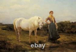 Old Master-Art Antique Oil Painting Portrait girl horse on canvas 24x36