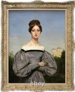 Old Master-Art Antique Oil Painting Portrait girl noblewoman on canvas 24x36