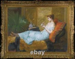 Old Master-Art Antique Oil Painting Portrait girl noblewoman on canvas 30x40